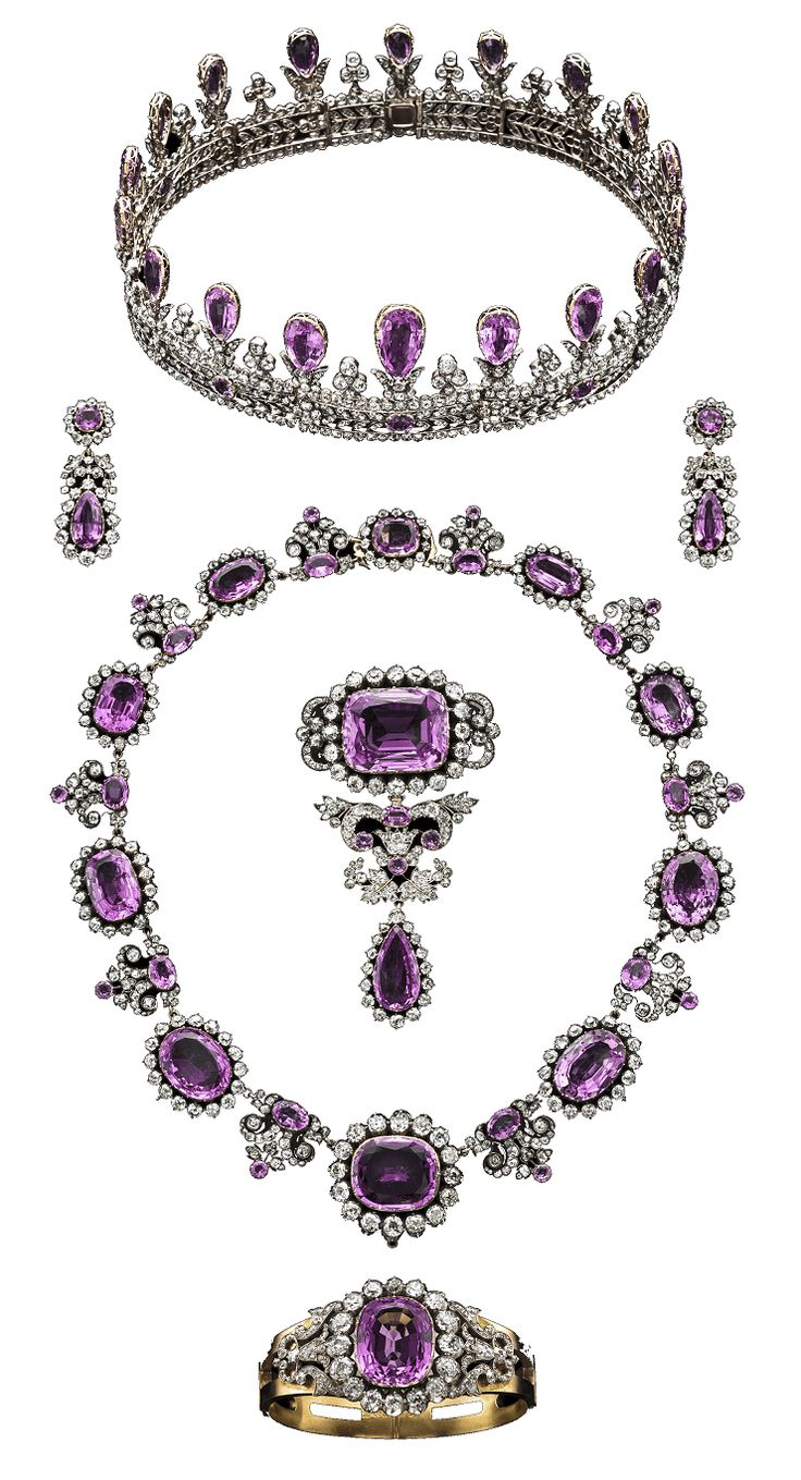 Prussia - The House of Hohenzollern Royal Pink Topaz Parure, Early 19th Century. Consisting of a tiara, a pair of pendant earrings, a necklace, a stomacher and a hinged bangle, all composed of gold, silver pink topaz and diamonds. #Hohenzollern #Royal #PinkTopaz