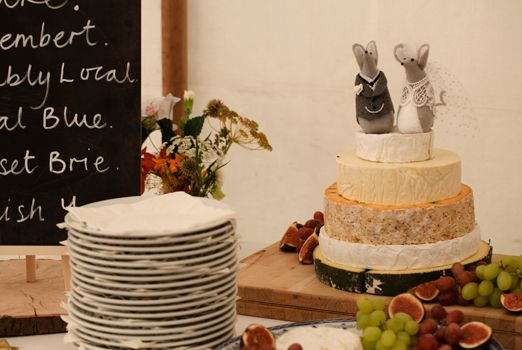 Cheese wedding cake with mice cake topper