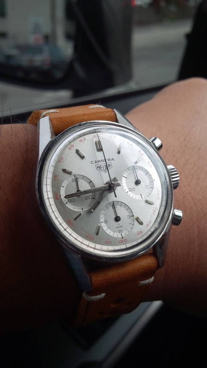 Superb Vintage Heuer Carrera Chronograph In Stainless Steel Circa 1960s