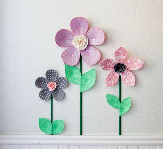 pink and gray fabric flowers. 3d wall art decor is a great alternative to traditional wall decal. perfect for girls room or nursery wall decor or baby shower gift.
