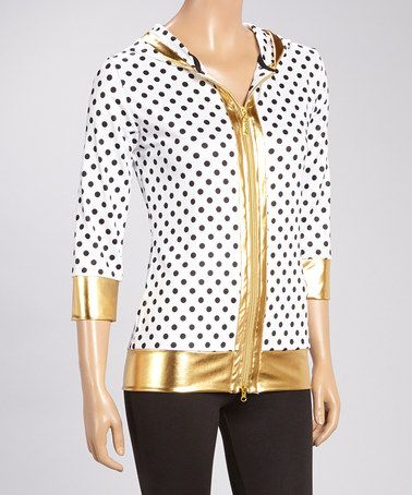 Another great find on #zulily! White & Black Polka Dot Zip-Up Hoodie - Women by Isaac Mizrahi #zulilyfinds