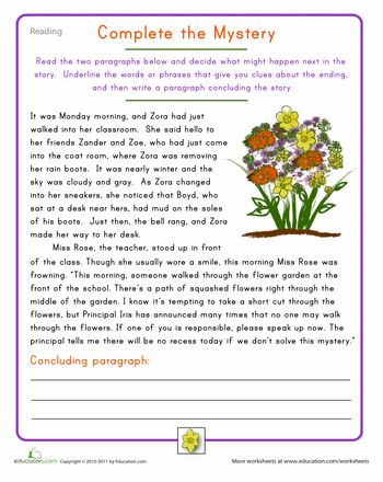 Worksheets: Fourth Grade Reading Practice: Complete the Mystery