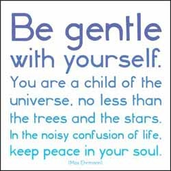be gentle with yourself. you are a child of the universe, no less than the trees and the stars. in the noisy confusion of life, keep peace in your soul.  - max ehrmann
