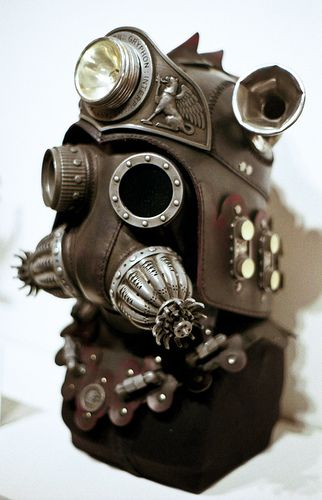 Tom Banwell steampunk mask at the Steampunk exhibition at the Museum of the History of Science, Oxford