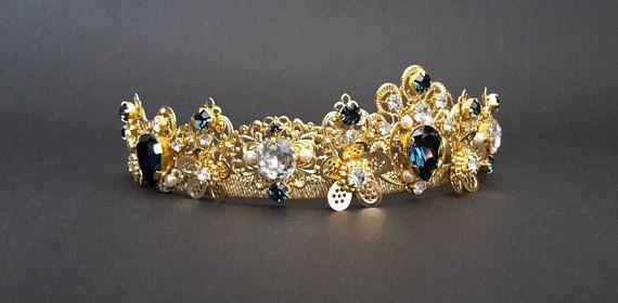 Blue Gold crown Gold tiara Crystal crown Dark Blue Swarovski
