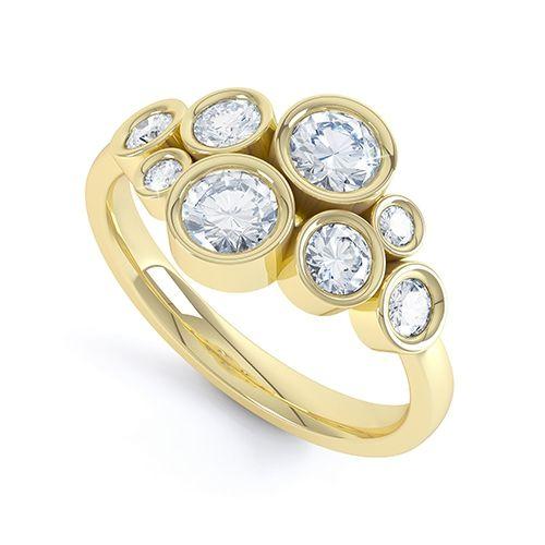 Cesaria Yellow Gold Multi Stone Diamond Ring #gold