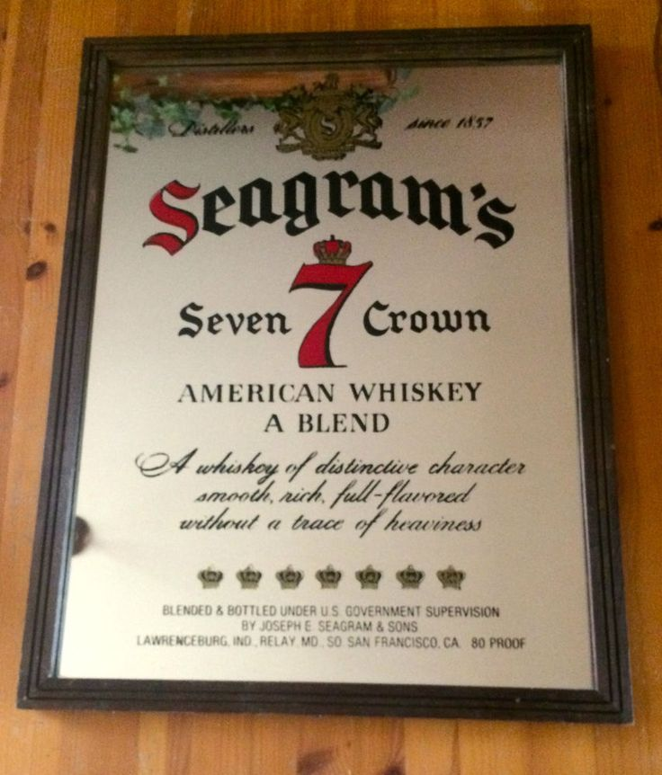 Vintage Seagrams 7 Seven Crown American Whiskey Mirror Sign Beer Bar Pub #Seagrams