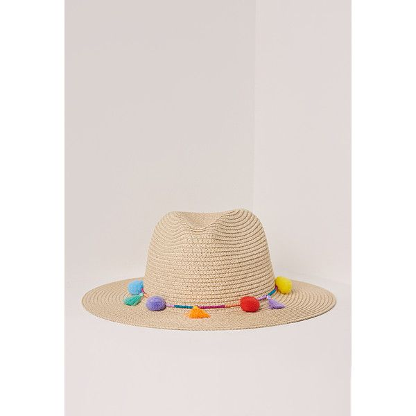 Missguided Pom Pom Tassel Festival Straw Fedora ($20) ❤ liked on Polyvore featuring accessories, hats, multi, pompom hat, oversized hat, straw hat, pom pom hat and tassel hat