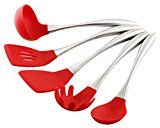 Essential Home & Kitchen Stainless Steel Silicone Kitchen Utensils Cooking Set, Perfect for use with any Cookware 5-Pieces (Teflon and Ceramic), Silicone Ended (Red)