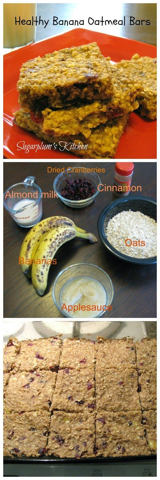 Healthy Banana Oatmeal Bars-A healthier snack with no added sugar!  Sugarplumskitchen.com