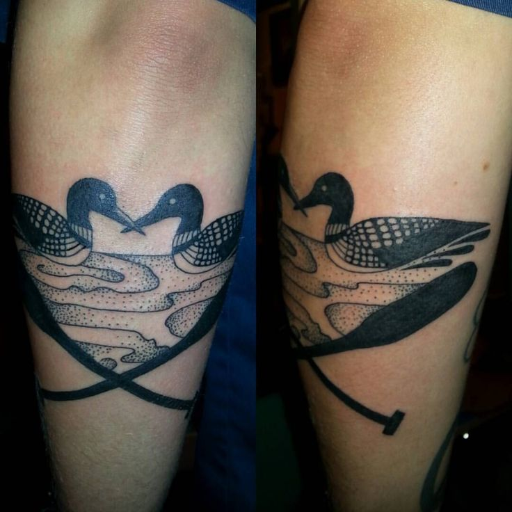 Loons! #tattoo #tattoos #blacktattoo #loon #paddle #canoe #Minneapolis #jackalopetattoo #morichardtattoos