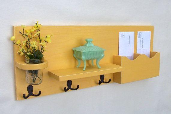 Mail Organizer - Mail and Key Holder - Shelf - Coat Hooks - Key Hooks - Coat Rack - Wood