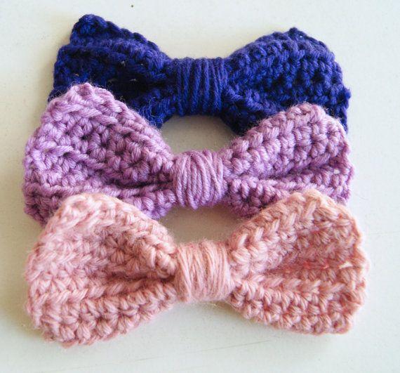 Set di 3 fiocchi:viola,lillà e rosa!Fiocchi all'uncinetto 10x4 cm, fatti a mano, accessori perfetti, molti usi possibili! on Etsy, CHF10.24