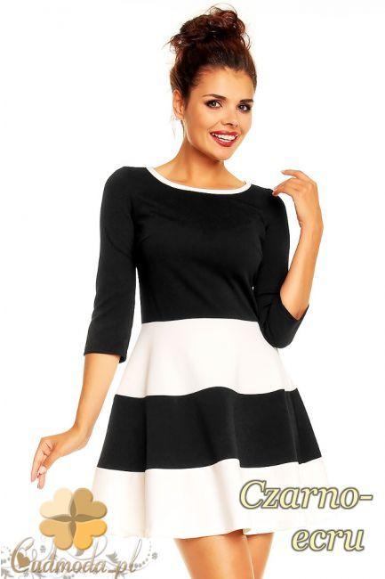Dwukolorowa sukienka damska z kontrastową lamówką i rozkloszowanym dołem marki Karen Styl.  #cudmoda #moda #styl #ubrania #odzież #clothes #dresses #sukienki