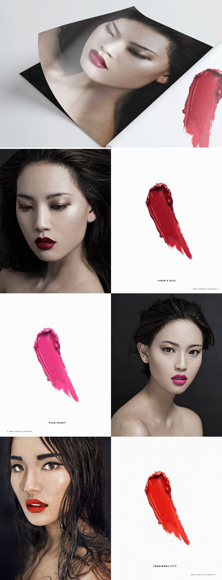 """Jen Note: I like the use of the lipstick swatches next to a picture of the color """"in use"""" **Original: Project Spotlight: Shien Cosmetics Lookbook"""