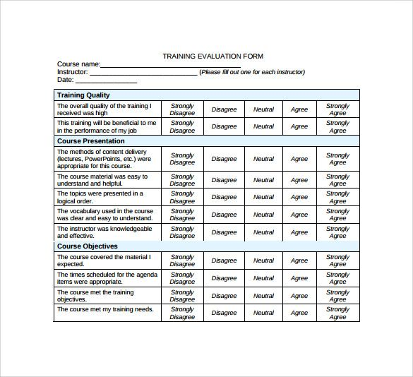 training evaluation form format