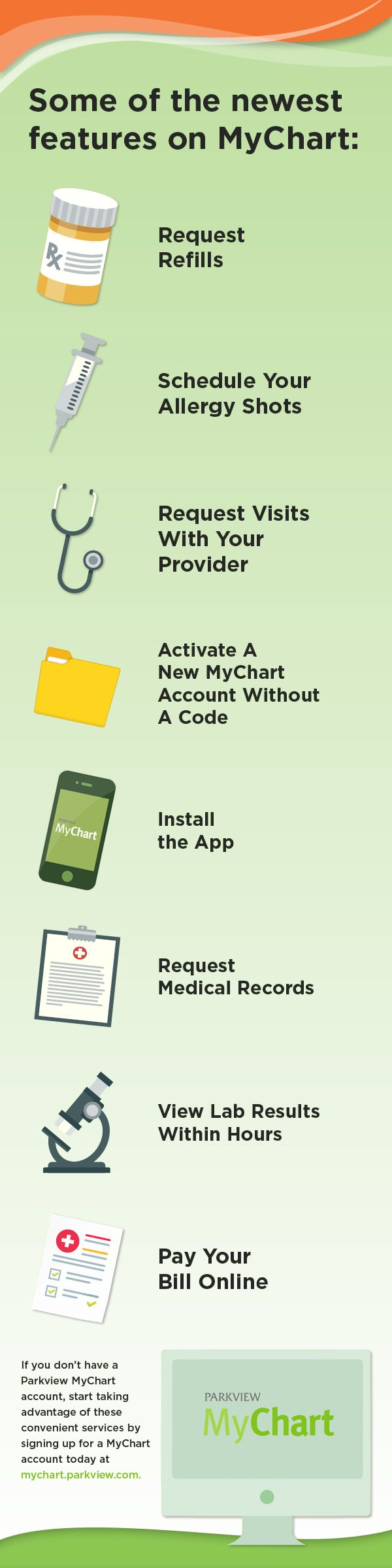 Have you signed up for MyChart through Parkview? You can access your important health information through our app or on your desktop.   #healthcare #apps #medical #infographic #design