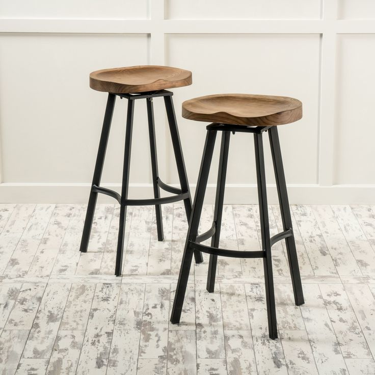 Albia Swivel Barstool (Set of 2) by Christopher Knight Home (Brown) (Iron)