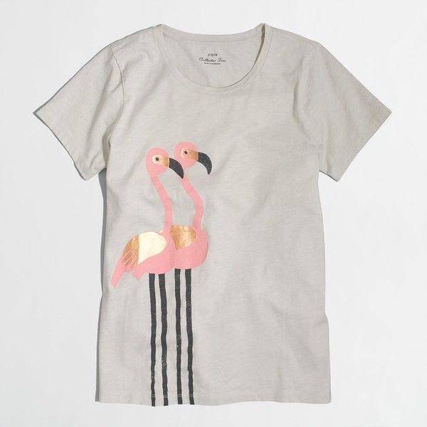 J.Crew Factory flamingo collector T-shirt ($21) ❤ liked on Polyvore featuring tops, t-shirts, j crew tops, loose t shirt, loose fit t shirts, cotton tee and j crew tee