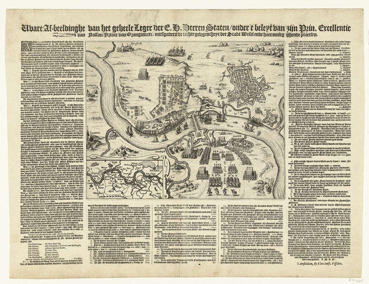Claes Jansz. Visscher (II) | Het Staatse leger onder Maurits gelegerd bij Wesel, 1620, Claes Jansz. Visscher (II), 1620 | Kaart van Wesel aan de Rijn en omgeving met de legerplaats van het Staatse leger onder Maurits, 1620. Tocht van prins Maurits tegen Spinola, 15-23 augustus 1620. Linksonder een inzet met een kaartje van Rijnland. Om de voorstelling heen een gedrukte beschrijving in 5 kolommen.