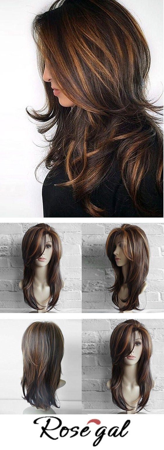 Free shipping worldwide.Long Inclined Bang Layered Natural Straight Colormix Synthetic Wig. #hair #hair styles #straight hairs #makeup