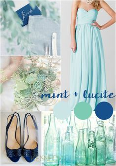 A gorgeous wedding palette of mint blue and lucite green | Pantone Wedding Colors for Spring 2015