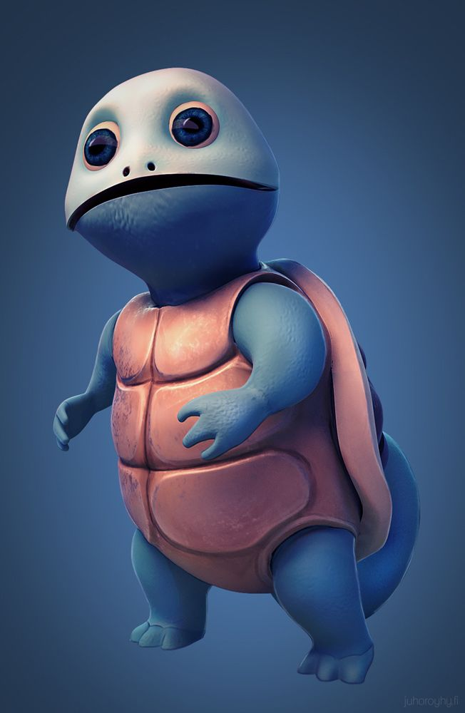 Squirtle: Modeled, textured and rendered in Blender