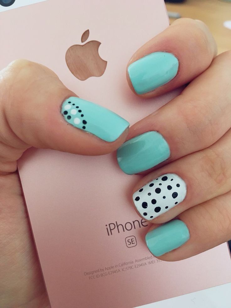 80 best my nails images on pinterest my nails short nails and spring or summer nails mint green white and black dots short nails prinsesfo Choice Image
