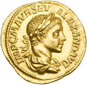Monedas Antiguas: La moneda romana más valiosa del mundo.  Anverso: Busto del emperador con corona de laureles.