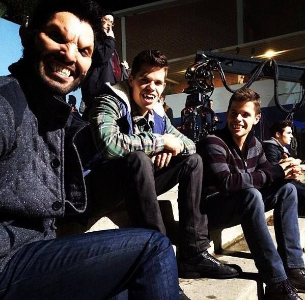 Tyler Hoechlin, Charlie Carver and Max Carver on the set of Teen Wolf Season3B!