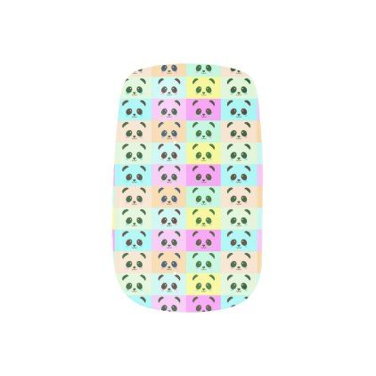 Pop Art Panda Bear Pink Blue Orange Yellow Black Minx Nail Wraps - black gifts unique cool diy customize personalize