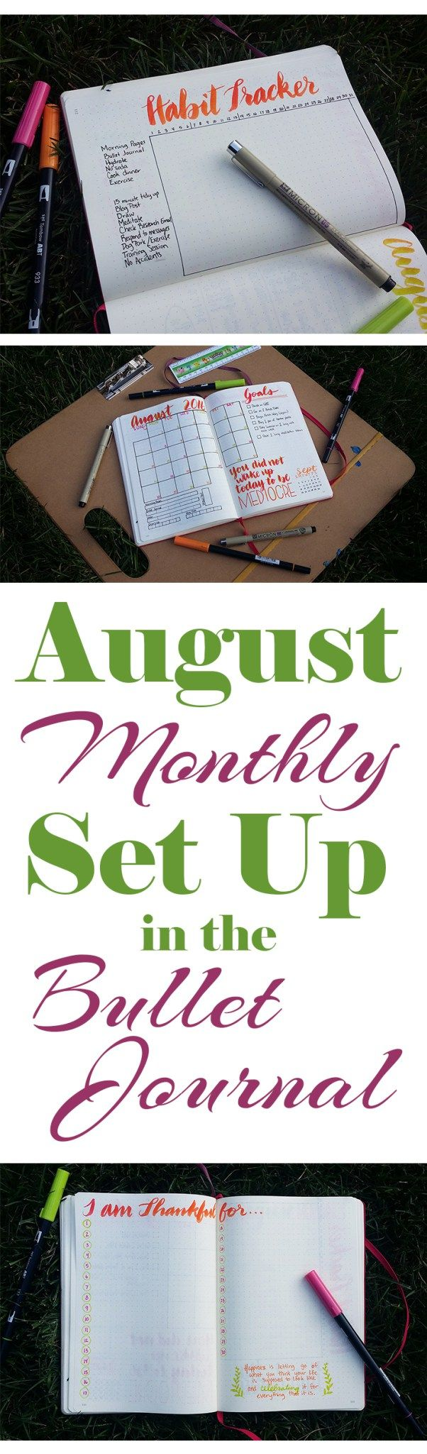The monthly planner is a workhorse in the bullet journal, where it helps keep me on my big picture goals. Check out my August monthly planner…