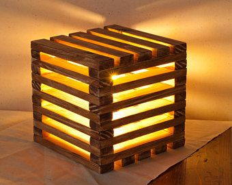Wood Lamp Cube With LED Bulb