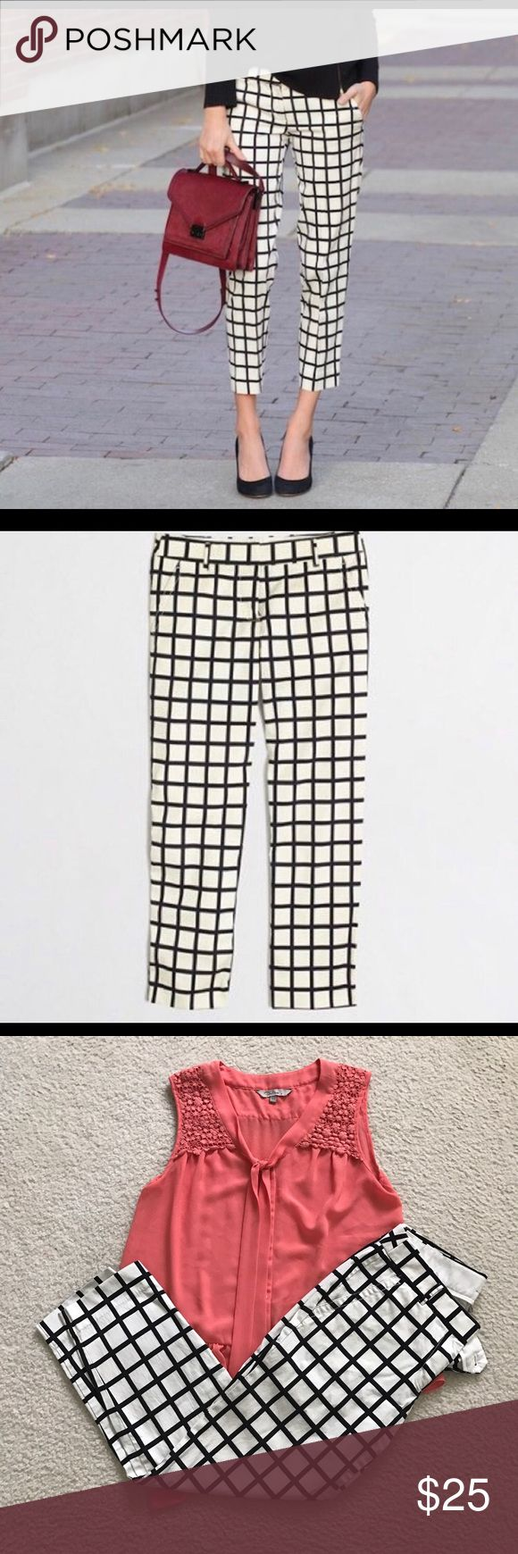 Jcrew factory black and white grid capris Jcrew factory printed slimmer pant in black and white windowpane. Perfect summer office attire. Looks great with pointed heels and layered sweater. EUC J. Crew Pants Capris