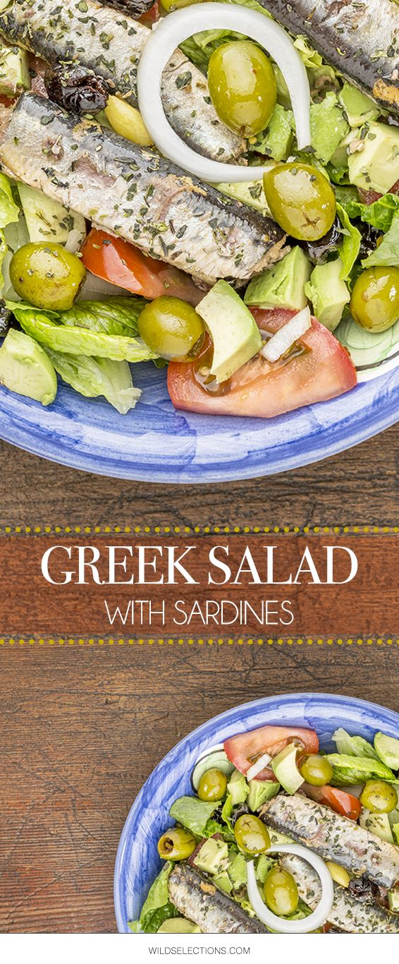 Stick to those healthy resolutions! Top a Greek salad with Wild Selections Sardine Fillets.