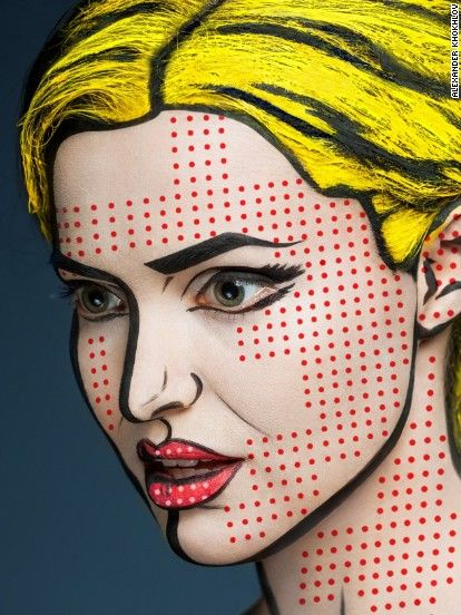 "Russian makeup artist Valeriya Kutsan's new series ""2D or not 2D"" transforms the faces of her subjects into works of pop art."
