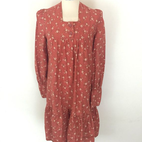 1970s dress smock chintzy floral cotton burnt orange Biba
