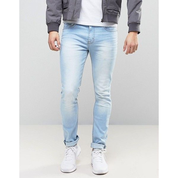 Loyalty and Faith Stretch Skinny Jeans in Light Blue Wash (€40) ❤ liked on Polyvore featuring men's fashion, men's clothing, men's jeans, blue, mens skinny fit jeans, mens skinny jeans, mens light blue skinny jeans, mens stretch jeans and mens stretch skinny jeans