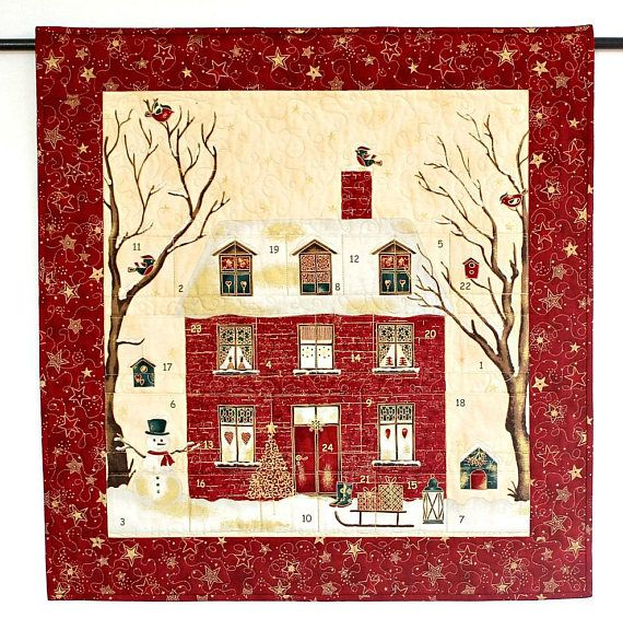 Quilted Advent Calendar Red House Christmas Wall Hanging