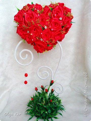 Бонсай топиарий 8 марта Валентинов день День рождения Свадьба Моделирование конструирование Цумами Канзаши Страстное сердце Ленты