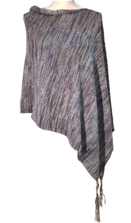 Blå/grå poncho med tofsar - Monrow