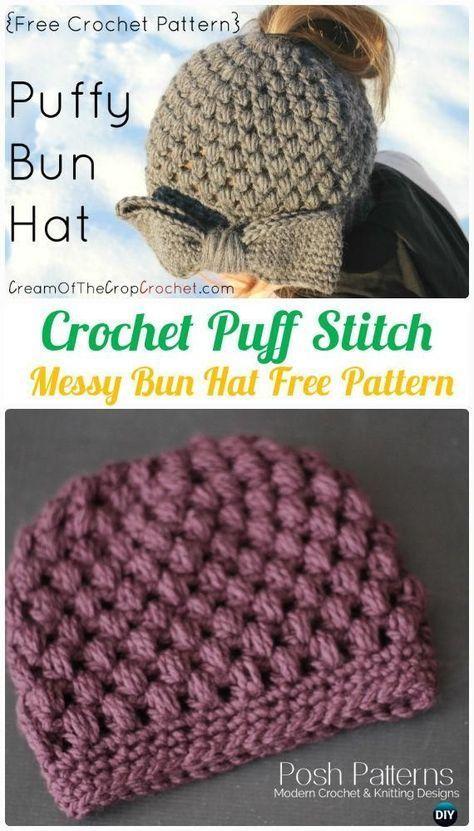 bebff9267eb Crochet Puff Stitch Messy Bun Hat Free Pattern -Crochet Ponytail Messy Bun  Hat Free Patterns   Instructions