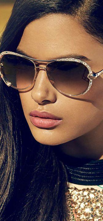 Roberto Cavalli Crystal Embellished Metal Aviator Sunglasses