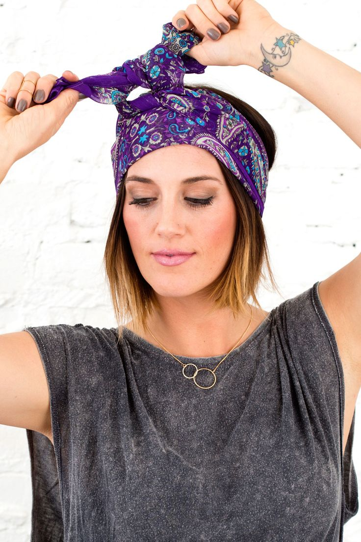 4 Ways to Wear a Scarf on Your Head This Spring via Brit + Co.