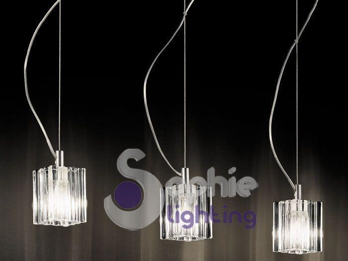 lampadario salotto : Lampada sospensione lampadario moderno acciaio cromato cristallo ...