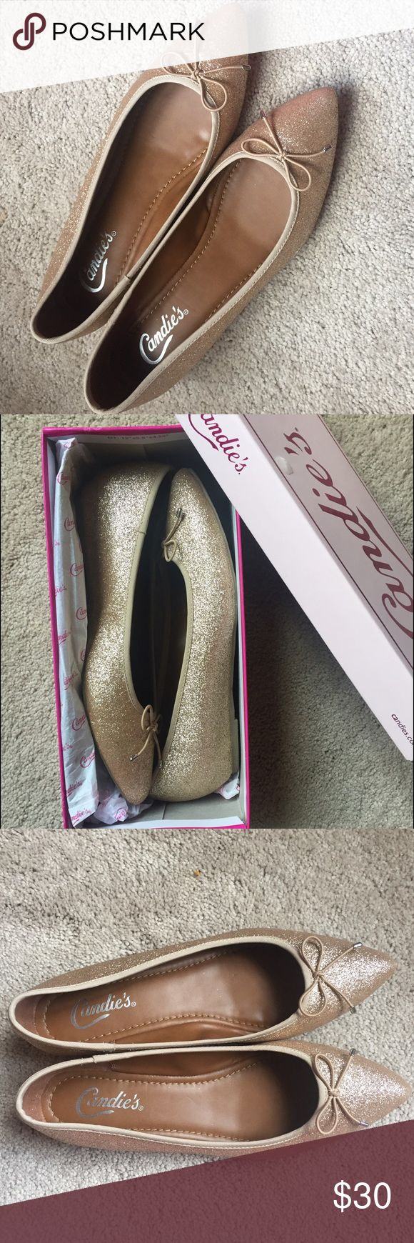 🆕 Gold Sparkly Shoes New in box! This are gorgeous and so fun. They look like a flat, but they do have a small wedge -- no more than a centimeter or two. They're SO comfortable. Candie's Shoes Flats & Loafers