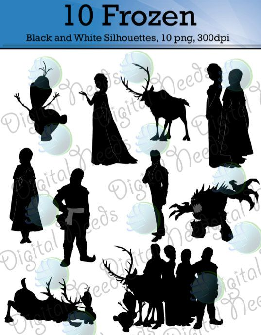 10 Frozen Silhouettes / png and SOURCE files / Disney Silhouettes / INSTANT DOWNLOAD