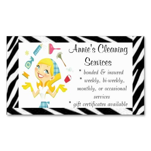 Cleaning Services Maid Business Card Maid Services Business Cards