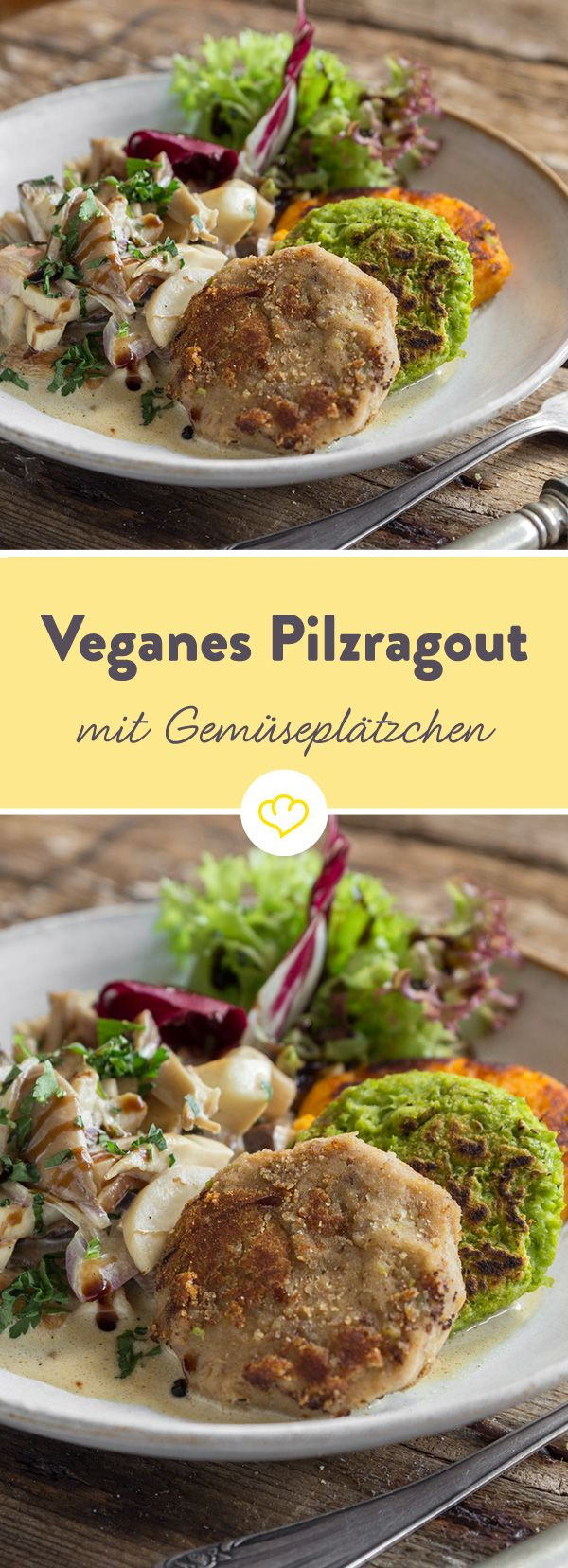 Vegane Küche zu Weihnachten: Sämiges Pilzragout trifft hier auf ein buntes Dreierlei aus Maronen, Karotten und Erbsen.