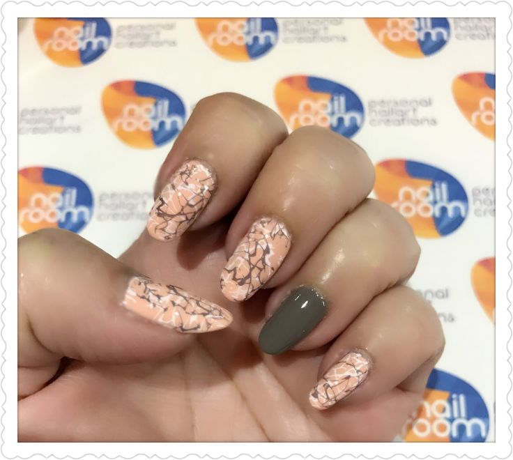 Peach marbled nailart using stamping technique. Products used - Kinetic Polish, Color Club 'Revealed' n Konad stamping plate m70. www.nailroom.my